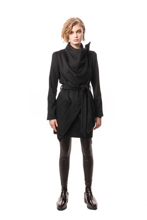 Black Cashmere Tailored Wrap Jacket with Silk Lining