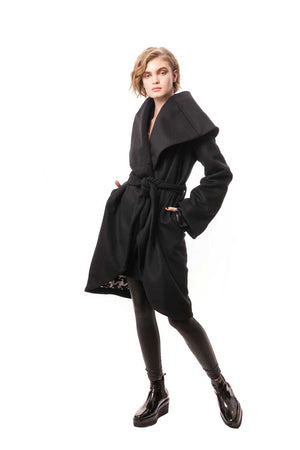 Black Cashmere Wrap Coat with Detachable Toscana Fur Collar and Silk Lining