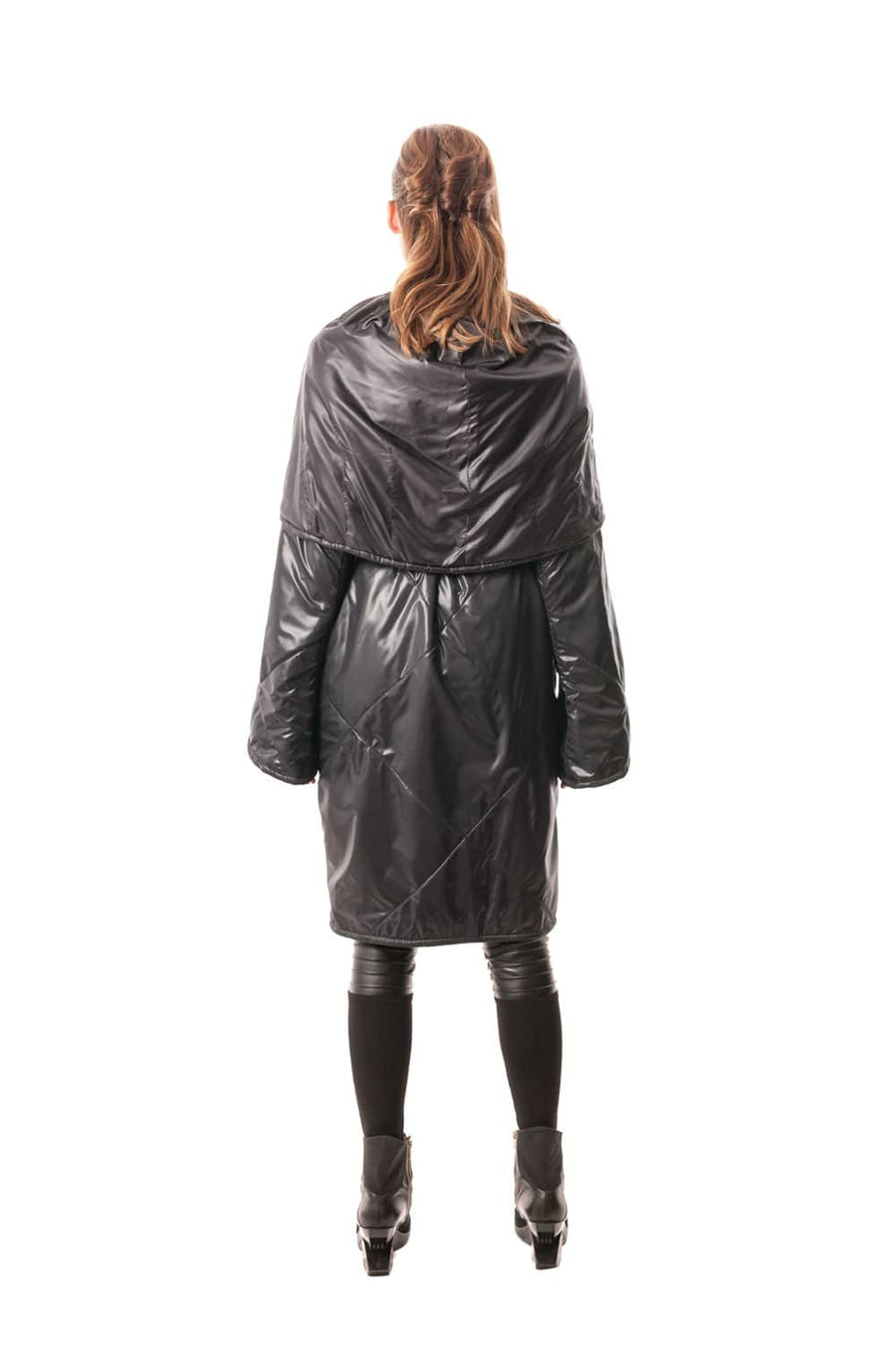 Black Signature Japanese Technical Nylon Cocoon Wrap Coat with A-Line Sleeve