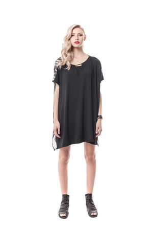 Black Oversized Jersey and Silk Tunic Dress