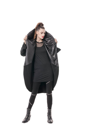 Black Signature Cocoon Wrap Jacket in Bamboo and Japanese Technical Nylon