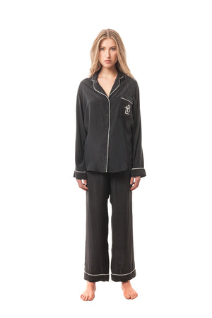 La Principessa Silk Logo Pajama Trio, White and Black