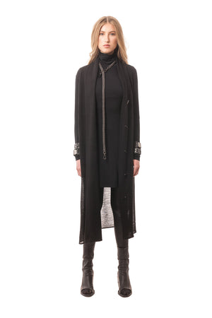 Long Black Button-Down Sheer Wool Sweater Draped Overlay Dress