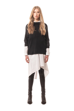 An edgy sophisticated wool knit sweater