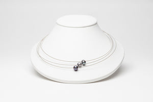 LB Organic Necklaces Triple Strand - Black Pearls