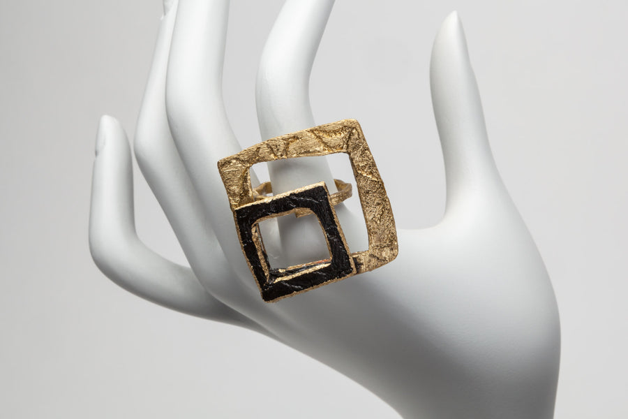 Italia: Square Bronze Greek Ring