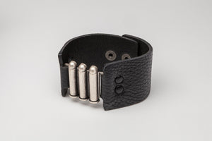 Black Leather Adjustable Snap Closure Cuff with Metal Detail