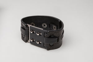 Leather + Metal Cuff, Embossed Croc Leather