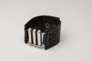 Black Embossed Leather Adjustable Snap Closure Cuff with Metal Detail