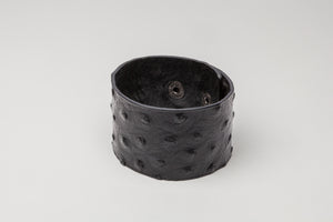 Black Midtown Leather Cuff Ostrich