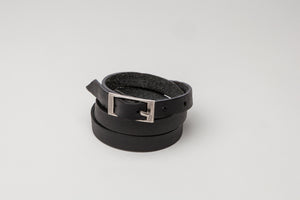 Black Leather Wraparound Buckle Bracelet