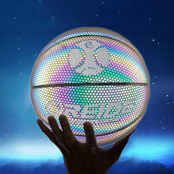 Size 5 Luminous Basketball Ball Holographic Reflective Lighted Flash Ball PU Wear-Resistant Glowing Basketball