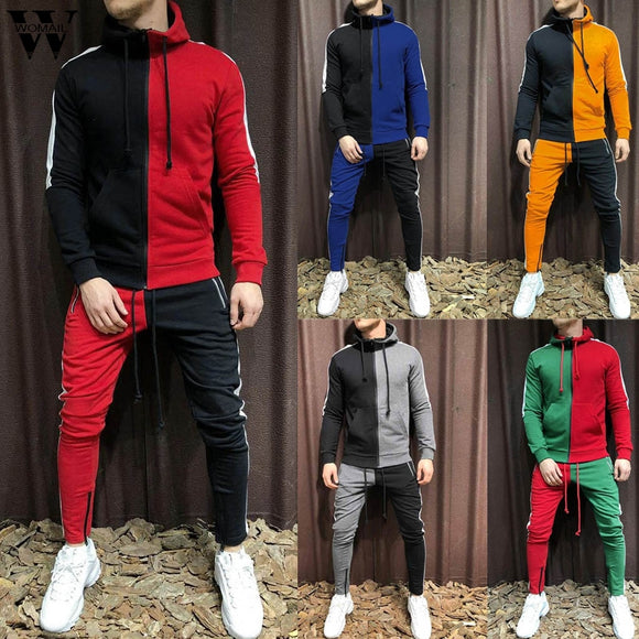 Tracksuit Men 2 Pieces Sets Autumn Winter Hooded Sweatshirt+Pants Male Sports Suit Patchwork Sportswear Joggers Outdoor 2019 730