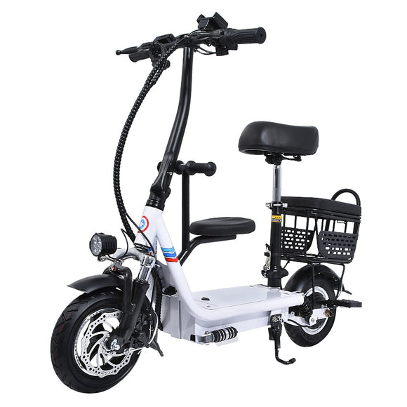 48V 8Ah/10Ah/12Ah Three Seat Electric Scooter 10 Inch Two Wheel