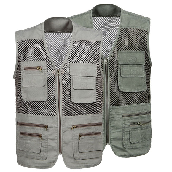 Outdoor Men Women Fishing Vest Summer Hunting Vest Multi-pockets Professional Photography Vest