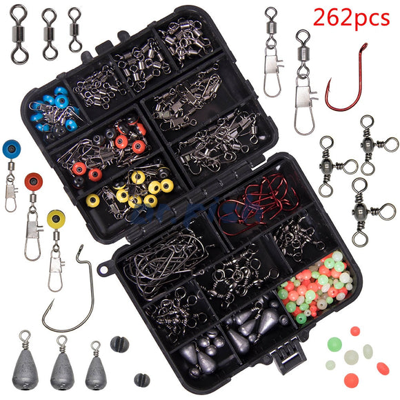 226PCS Carp Fishing Accessories Terminal Tackles Kit Hooks Swivels Lead Fishing Sinker Ring