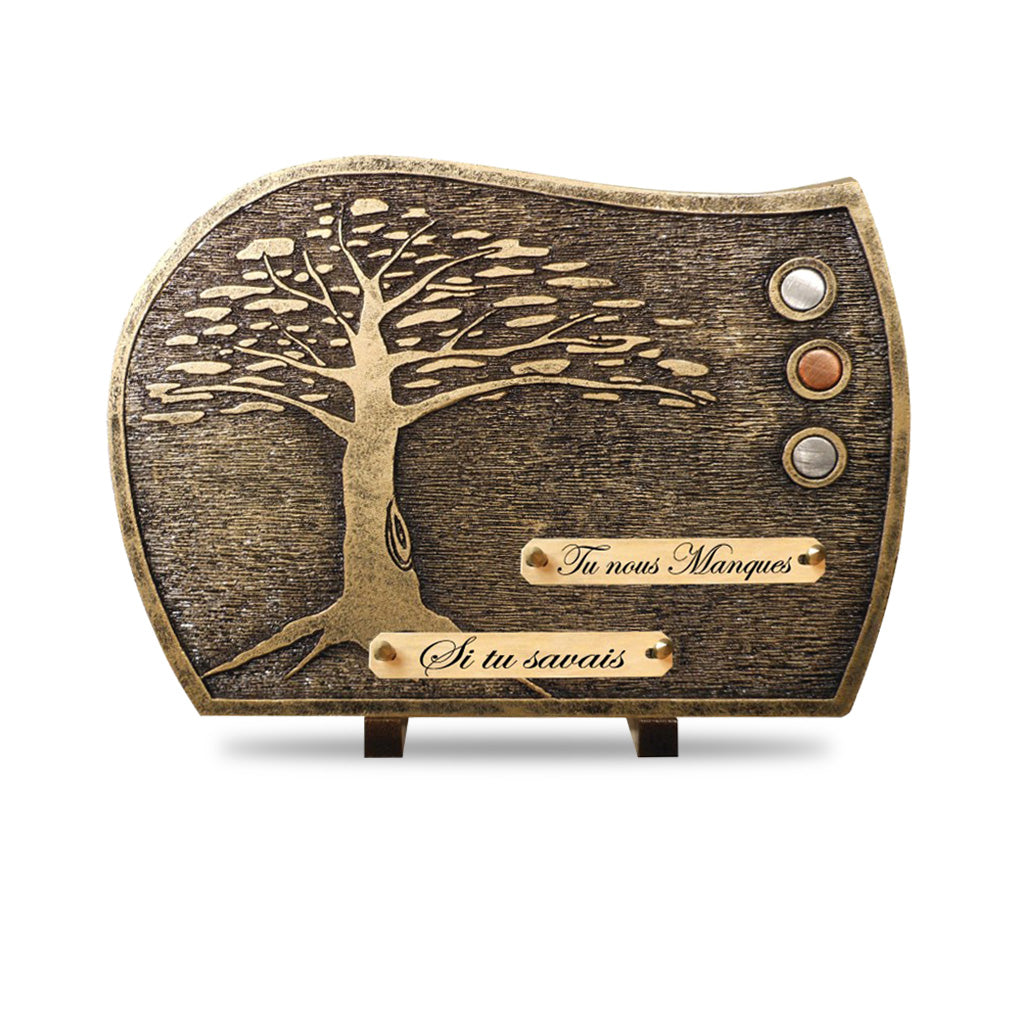 Plaque contemporaine arbre bronze