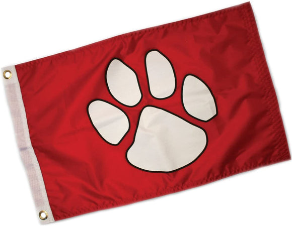 PawsAboard Red Paw Print Boat Flag