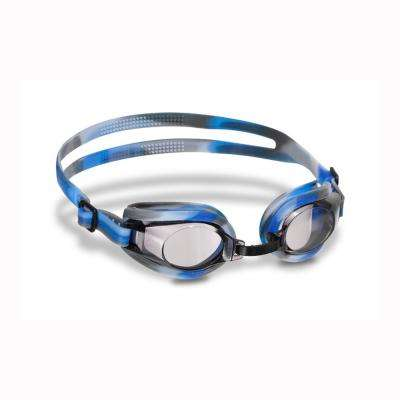 Silicone Youth/Adult Goggles (Blue/Black/White Swirl)