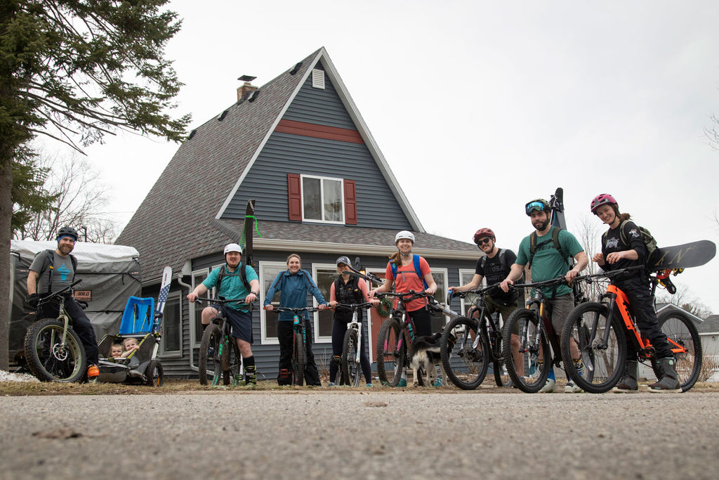 Group biking to ski at Avalanche Mountain