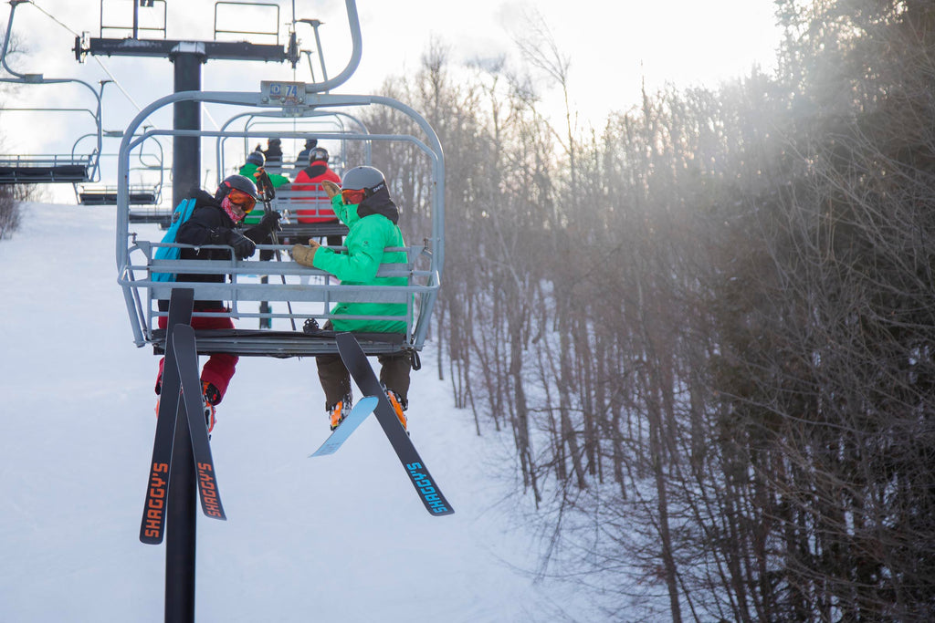On the chairlift with Shaggy's Skis
