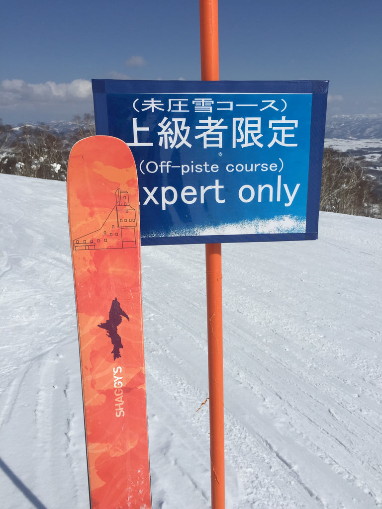Expert run in Japan with custom skis