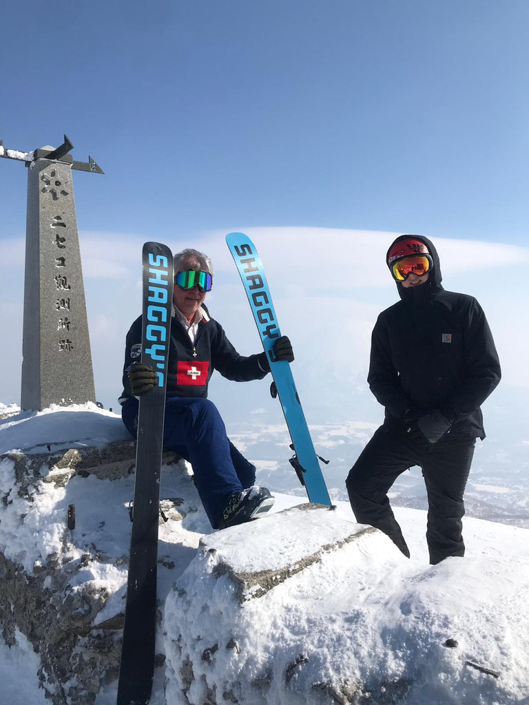 Hiking with skis to Niseko summit shrine