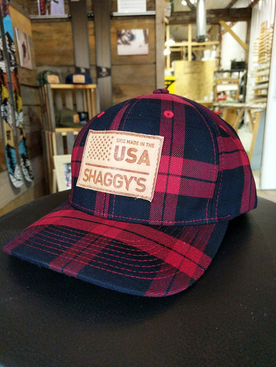 Leather Patch Plaid Cap
