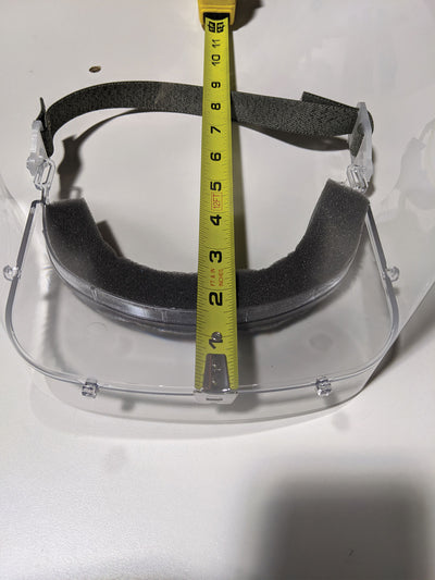 Face shield with clearance for dental loupe