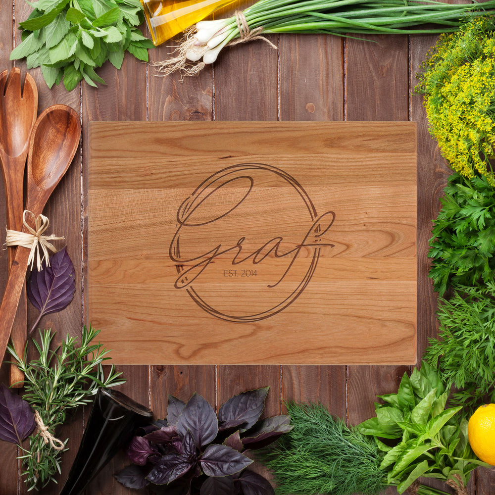 Load image into Gallery viewer, Cursive Last Name Cutting Board