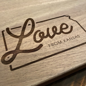 "Load image into Gallery viewer, ""Love From Kansas"" Cutting Board"