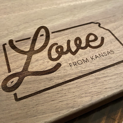 """Love From Kansas"" Cutting Board"