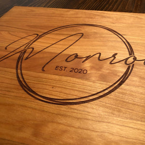 Cursive Last Name Cutting Board