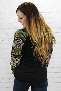 Camouflage and Leopard Long Sleeve Top