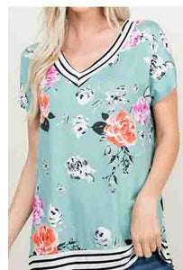 Floral Print V-Neck Top with Stripe Contrast