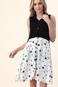 WHITE STAR-SLEEVELESS TUNIC BLOUSE/