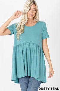 Short-Sleeve Waist-Shirring Top