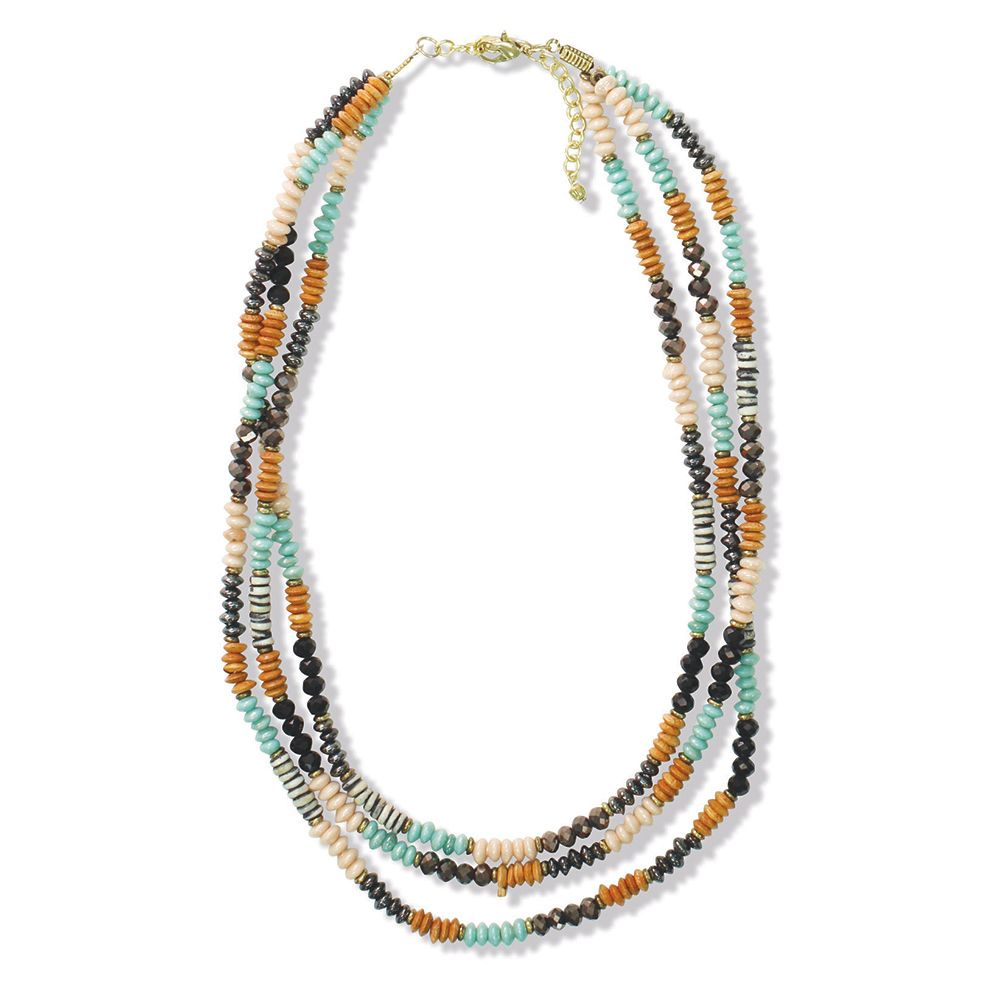 Black Teal Beaded Triple Strand Necklace
