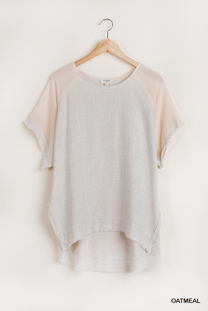 Frayed Scoop Hem Top