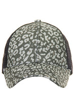 Load image into Gallery viewer, CC LEOPARD GLITTER PONY TRUCKER CAP