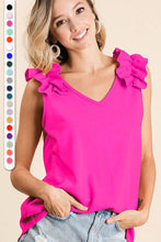 Load image into Gallery viewer, CREPE KNIT V NECK TOP WITH RUFFLE APPLIQUE