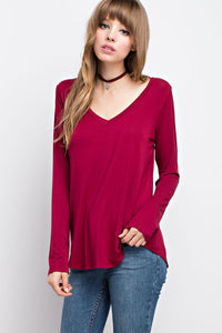BAMBOO FABRIC V-NECK TOP