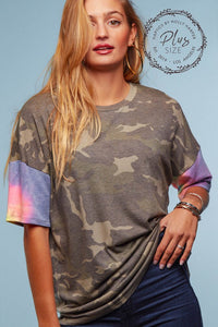 CAMO TIE DYE SLEEVE KNIT TOP