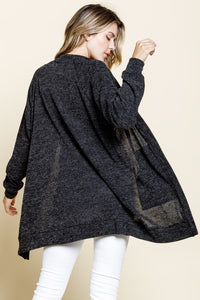 EMBO SWEATER KNIT OPEN FRONT POCKETED KNIT
