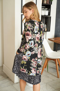 Long Sleeve Floral Print Knit Dress