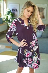 Rolled Sleeves Floral Print Knit Dress