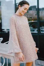 Load image into Gallery viewer, PRINT RUFFLE MOCK NECK LONG BELL SLEEVE DRESS