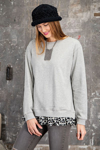 Long Sleeve Animal Print Ruffled Pullover