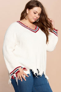 Varsity Striped V-Neck Sweater