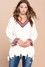 Load image into Gallery viewer, Varsity Striped V-Neck Sweater